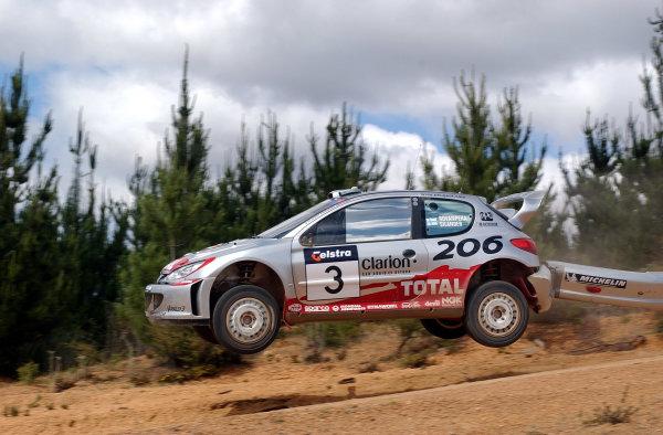2002 World Rally Championship.Telstra Rally Australia, Perth. October 31st-November 3rd.Harri Rovanpera trails his rear bumper over the jumps on stage 21.Photo: Ralph Hardwick/LAT