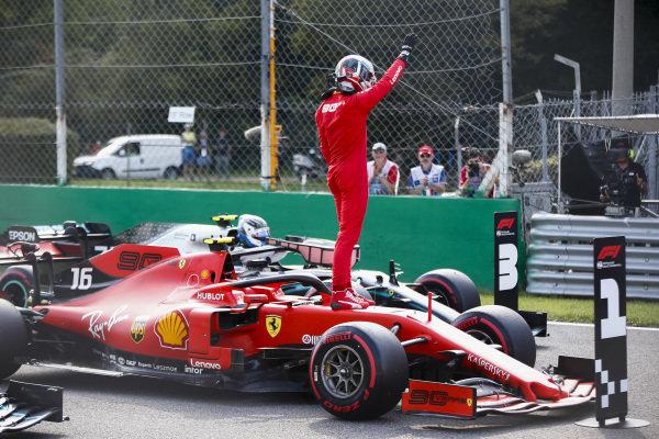 Pole Sitter Charles Leclerc, Ferrari SF90 celebrates in Parc Ferme