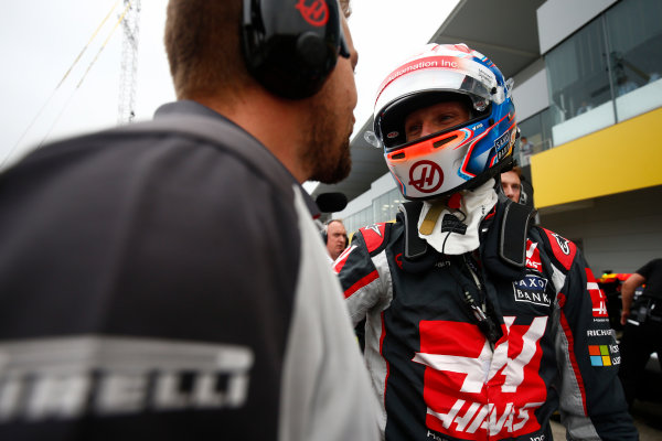 Suzuka Circuit, Japan. Saturday 8 October 2016. Romain Grosjean, Haas F1, celebrates a successful Qualifying session. World Copyright: Andrew Hone/LAT Photographic ref: Digital Image _ONZ4739