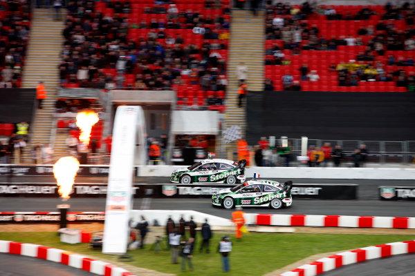 Wembley Stadium, London.  14th December 2008. RoC Nations Cup: Mattias Ekstrom for Team Scandinavia v Sebastien Loeb for Team France in the Ford Focus WRC 08. Action. World Copyright: Colin McMaster/LAT Photographic ref: Digital Image _CMS6898
