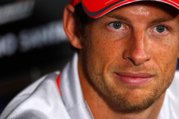 Autodromo Nazionale di Monza, Monza, Italy.9th September 2010.Thursday Press Conference. Jenson Button, McLaren MP4-25 Mercedes. Portrait. World Copyright: Charles Coates/LAT Photographicref: Digital Image _26Y8891