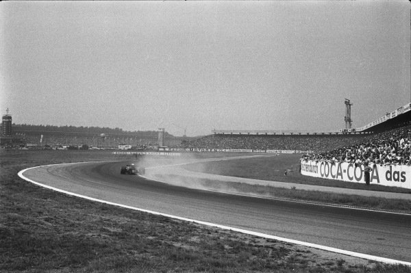 1970 German Grand Prix. Hockenheim, Germany. 31st July - 2nd August 1970. Race action of a car coming through the Sachskurve, action.  World Copyright: LAT Photographic. Ref: 1324F - 8A.