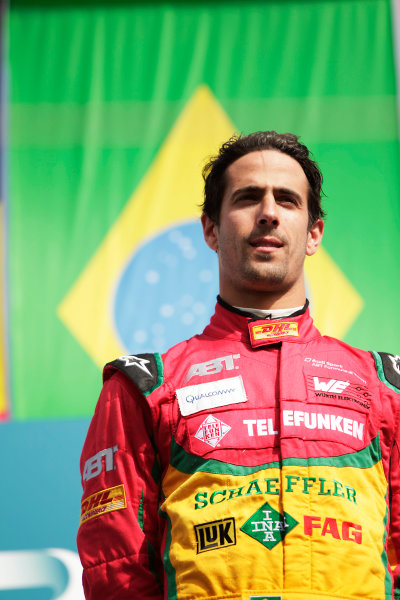 2014/2015 FIA Formula E Championship. Berlin ePrix, Berlin Tempelhof Airport, Germany. Saturday 23 May 2015 Podium. Lucas di Grassi (BRA)/Audi Abt Sport - Spark-Renault SRT_01E. Photo: Zak Mauger/LAT/Formula E ref: Digital Image _MG_7830