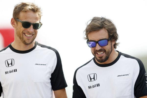 Circuit de Catalunya, Barcelona, Spain. Friday 8 May 2015. Jenson Button, McLaren, with Fernando Alonso, McLaren. World Copyright: Charles Coates/LAT Photographic. ref: Digital Image _J5R0103