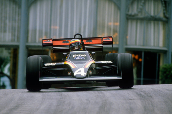 Monte Carlo, Monaco.31/5-3/6 1984.Stefan Bellof, Tyrrell 012-Ford, 3rd position, at Casino. He would lose his position at the end of the season, after the Tyrrell team was disqualified from the World Championship due to fuel irregularities.Ref-84 MON 02.World Copyright - LAT Photographic