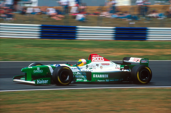 Silverstone, England.12-14 July 1996.Luca Badoer (Forti FG03-96 Ford). He did not qualify after only being able to run for three laps. The Forti team faced a financial crisis and Cosworth refused to supply them with engines until they paid their bills.Ref-96 GB 31.World Copyright - LAT Photographic
