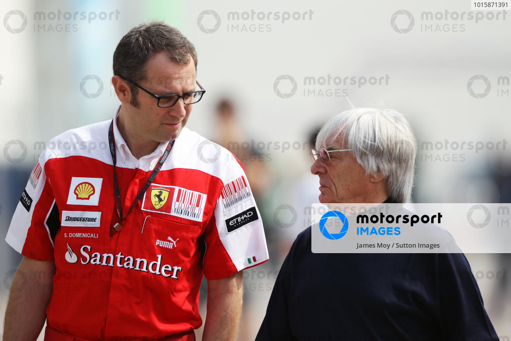 (L to R): Stefano Domenicali (ITA) Ferrari General Director with Bernie Ecclestone (GBR) CEO Formula One Group (FOM).