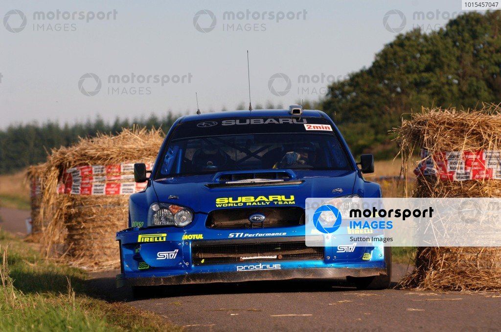 Petter Solberg (NOR), Subaru Impreza WRC, exits a chicane on Stage 14.