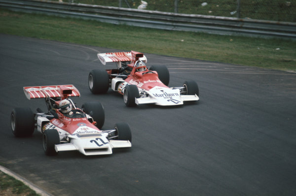 1972 Italian Grand Prix.  Monza, Italy. 8-10th September 1972.  Howden Ganley, BRM P160C, 11th position, leads teammate Jean-Pierre Beltoise, BRM P180, 8th position, into Parabolica.  Ref: 72ITA53. World Copyright: LAT Photographic