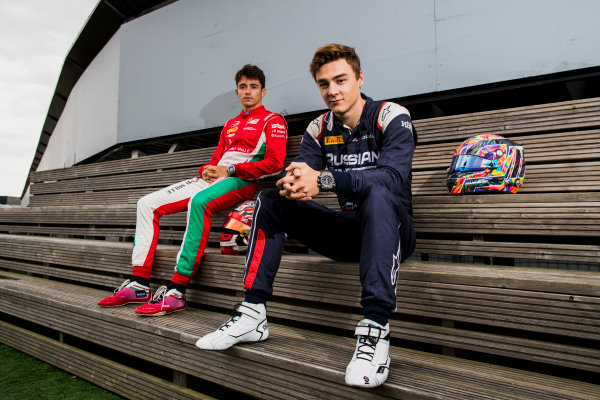 2017 FIA Formula 2 Round 6. Silverstone, Northamptonshire, UK. Thursday 13 July 2017. Charles Leclerc (MCO, PREMA Racing) and Artem Markelov (RUS, RUSSIAN TIME).  Photo: Zak Mauger/FIA Formula 2. ref: Digital Image _56I6253