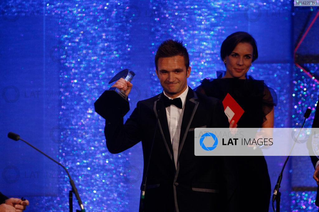 2014 Autosport Awards. Grosvenor House Hotel, Park Lane, London. Sunday 7 December 2014. Colin Turkington receives the National Racing Driver of the Year award. World Copyright: Sam Bloxham/LAT Photographic. ref: Digital Image _G7C2592