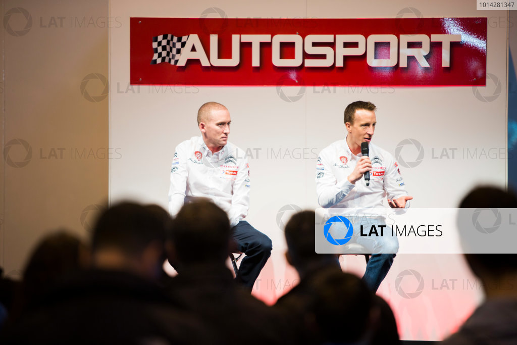 Autosport International Exhibition. National Exhibition Centre, Birmingham, UK. Friday 9 January 2015. Kris Meeke and Paul Nagle on the Autosport stage. World Copyright: Malcolm Griffiths/LAT Photographic. ref: Digital Image A50A0812