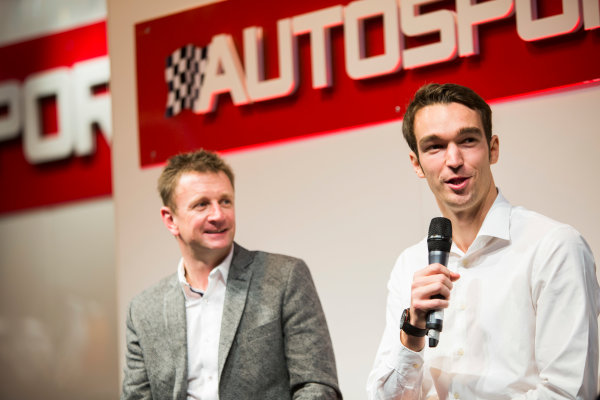 Autosport International Exhibition. National Exhibition Centre, Birmingham, UK. Friday 9 January 2015. Allan McNish and Harry Tincknell on the Autosport stage. World Copyright: Malcolm Griffiths/LAT Photographic. ref: Digital Image A50A1474