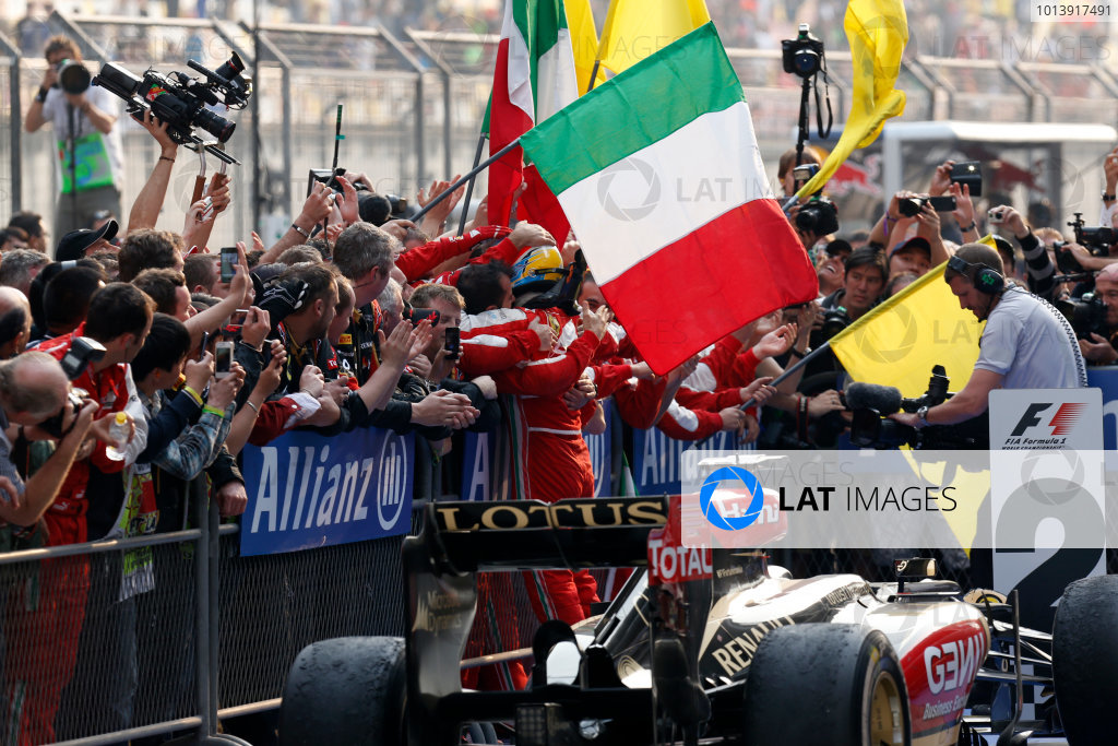 Shanghai International Circuit, Shanghai, China Sunday 14th April 2013 Fernando Alonso, Ferrari, 1st position, celebrate victory on arrival in Parc Ferme. World Copyright: Alastair Staley/LAT Photographic ref: Digital Image _R6T2355