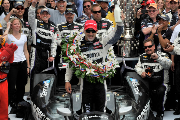 26 May, 2013, Indianapolis, Indiana, USA Tony Kanaan celebrates the win in victory lane by drinking milk ©2013, Scott R LePage LAT Photo USA