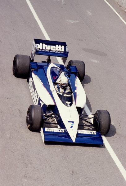 1986 British Grand Prix. Brands Hatch, England. 11-13 July 1986. Riccardo Patrese (Brabham BT54 BMW). Ref-86 GB 64. World Copyright - LAT Photographic