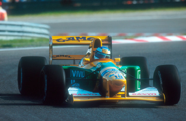 Spa-Francochamps, Belgium.28-30 August 1992.Michael Schumacher (Benetton B192 Ford) 1st position for his maiden Grand Prix win.Ref-92 BEL 01.World Copyright - LAT Photographic