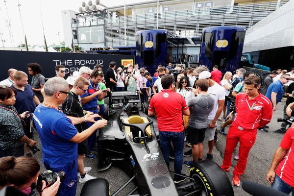 Autodromo Nazionale di Monza, Italy. Thursday 31 August 2017 The new 2018 F2 car is unveiled in the paddock. Photo: Zak Mauger/FIA Formula 2 ref: Digital Image _56I5279