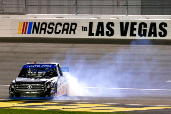 NASCAR Camping World Truck Series Las Vegas 350 Las Vegas Motor Speedway, Las Vegas, NV USA Saturday 30 September 2017 Ben Rhodes, Safelite Auto Glass Toyota Tundra celebrates his win with a burnout  World Copyright: Russell LaBounty LAT Images