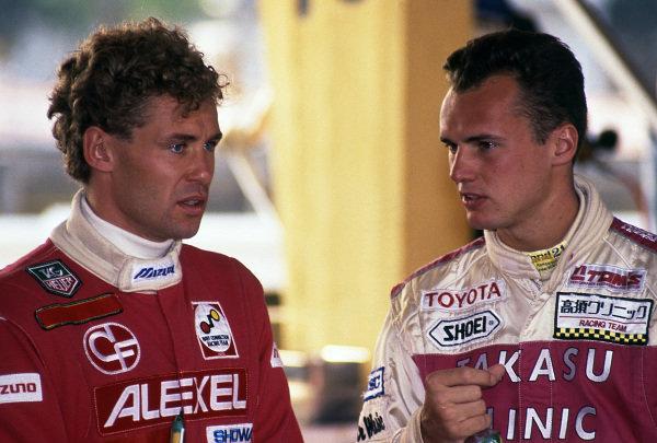 Tom Kristensen (DEN) Toms Toyota and Rickard Rydell (SWE) at Macau Formula Three Grand Prix, Macau, Hong Kong, 22 November 1992.