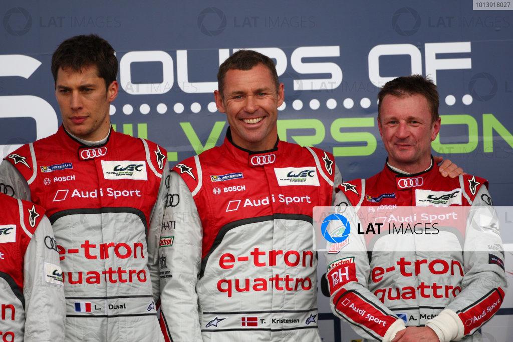 2013 FIA WEC Championship, Silverstone, Northamptonshire. 12th - 14th April 2013. Tom Kristensen / Loic Duval / Allan McNish Audi R18 e-tron quattro World Copyright: Ebrey / LAT Photographic.