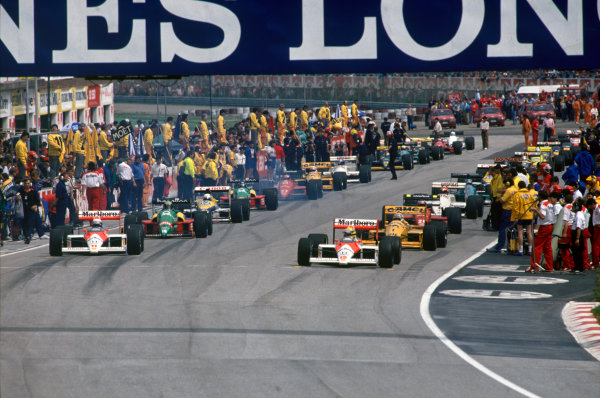 Imola, Italy. 29th April - 1st May 1988. Start of the parade lap, action. World Copyright: LAT Photographic Ref: 88SM
