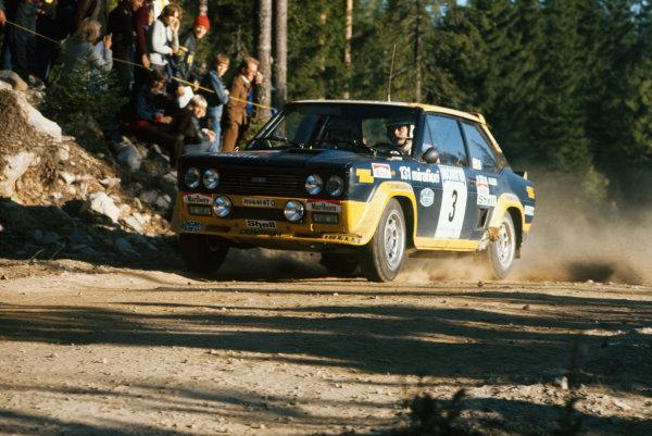 1000 Lakes Rally, Finland. 27-29 August 1976.Markku Alen/Ilkka Kivimaki (Fiat 131 Abarth), 1st position.World Copyright: LAT PhotographicRef: 35mm transparency 76RALLY06