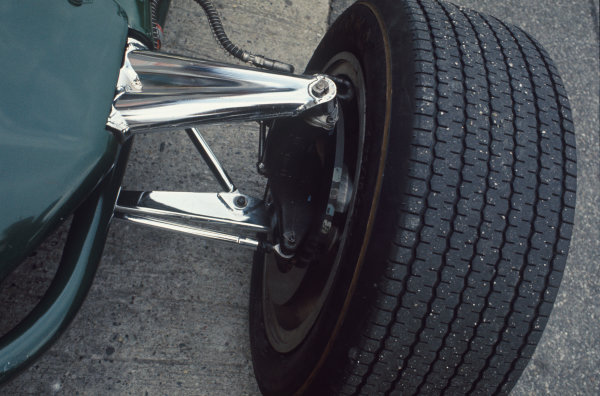 Monza, Italy. 8-10 September 1967. Close up of Lotus 49 front suspension. Ref: 67 ITA 08 World Copyright - LAT Photographic