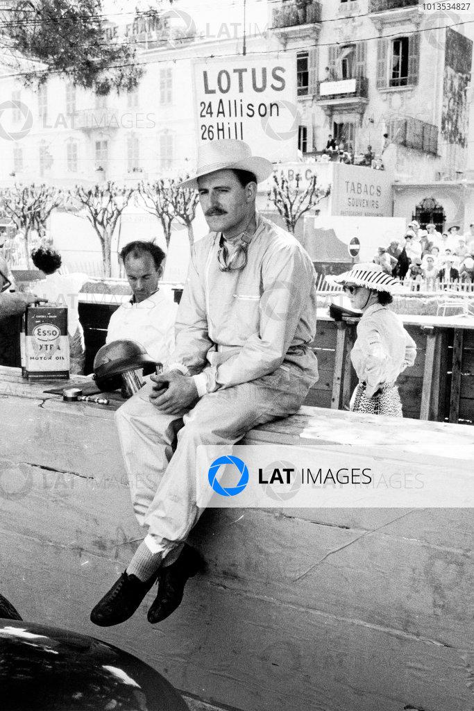 Monte Carlo, Monaco. 18 May 1958.Graham Hill, Lotus 12-Climax, retired, portrait.World Copyright: LAT PhotographicRef: Autosport b&w print