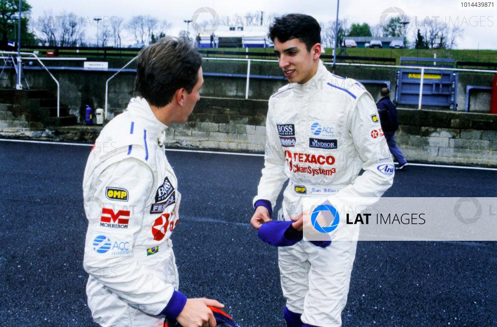 1997 Formula Vauxhall Championship. Brands Hatch, England. Luciano Burti and Justin Wilson, portrait. World Copyright: LAT Photographic.