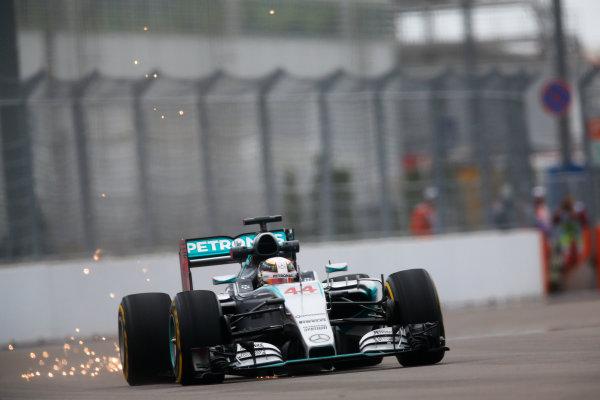 Sochi Autodrom, Sochi, Russia. Friday 09 October 2015. Lewis Hamilton, Mercedes F1 W06 Hybrid. World Copyright: Alastair Staley/LAT Photographic. ref: Digital Image _R6T9661
