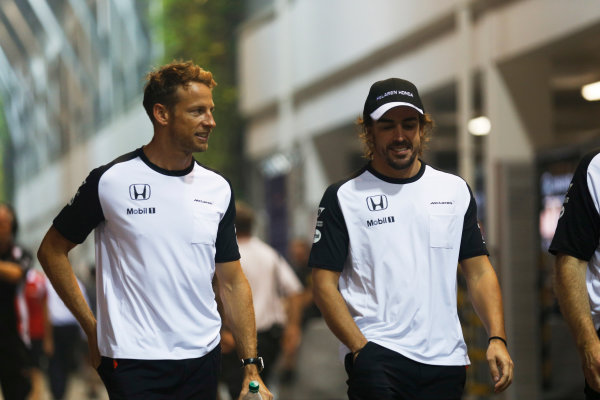 Marina Bay Circuit, Singapore. Friday 18 September 2015. Jenson Button, McLaren, and Fernando Alonso, McLaren.  World Copyright: Alastair Staley/LAT Photographic ref: Digital Image _R6T4637