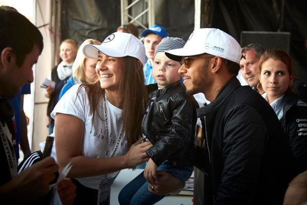 Sochi Autodrom, Sochi, Russia. Thursday 27 April 2017. Lewis Hamilton, Mercedes AMG, meets fans. World Copyright: Steve Etherington/LAT Images ref: Digital Image SNE16156