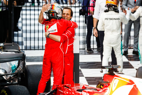 Albert Park, Melbourne, Australia. Sunday 26 March 2017. Sebastian Vettel, Ferrari, 1st Position, celebrates in Parc Ferme. World Copyright: Glenn Dunbar/LAT Images ref: Digital Image _X4I3645