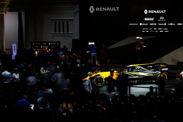 Renault  RS17  Formula 1 Launch. The Lindley Hall, London, UK. Tuesday 21 February 2017. Media gather around the R.S.17. World Copyright: Glenn Dunbar/LAT Images Ref: _X4I9961
