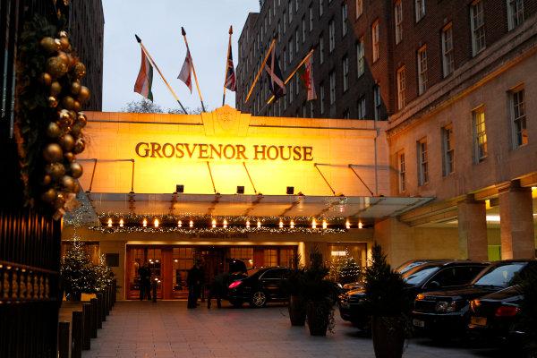 2013 Autosport Awards. Grosvenor House Hotel, Park Lane, London. Sunday 1st December 2013. The main entrance to the hotel. World Copyright: Jed Leicester/LAT Photographic. ref: Digital Image Grosvenor-02