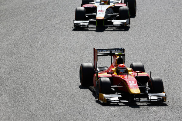 2015 GP2 Series Round 2. Circuit de Catalunya, Barcelona, Spain. Sunday 10 May 2015. Alexander Rossi (USA, Racing Engineering) leads Rio Haryanto (INA, Campos Racing). Photo: Zak Mauger/GP2 Series Media Service. ref: Digital Image _L0U5763