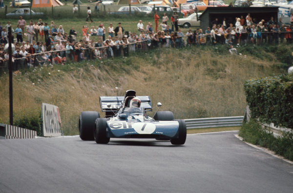 1972 German Grand Prix.  Nurburgring, Germany. 28-30th July 1972.  Jackie Stewart, Tyrrell 003 Ford, 11th position, with wheels off the ground at Breidscheid bridge.  Ref: 72GER29. World Copyright: LAT Photographic