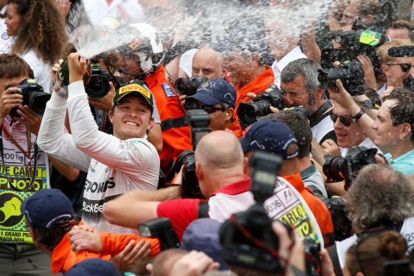 Monte Carlo, Monaco. Sunday 25 May 2014. Nico Rosberg, Mercedes AMG, 1st Position, sprays the victory Champagne. World Copyright: Glenn Dunbar/LAT Photographic. ref: Digital Image _89P0513