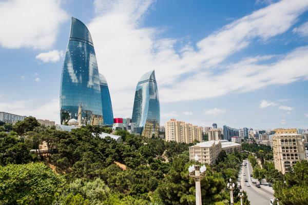 Baku City Circuit, Baku, Azerbaijan. Wednesday 21 June 2017. A view of the Flame Towers. World Copyright: Zak Mauger/LAT Images ref: Digital Image _56I5955