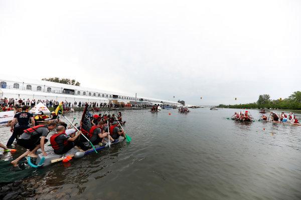 Circuit Gilles Villeneuve, Montreal, Canada. Saturday 10 June 2017. The McLaren team heads into the raft race. World Copyright: Glenn Dunbar/LAT Images ref: Digital Image _X4I7158