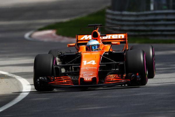 Circuit Gilles Villeneuve, Montreal, Canada. Friday 09 June 2017. Fernando Alonso, McLaren MCL32 Honda.  World Copyright: Steven Tee/LAT Images ref: Digital Image _O3I9031