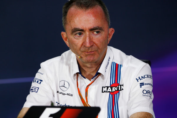 Circuit Gilles Villeneuve, Montreal, Canada. Friday 09 June 2017. Paddy Lowe, Chief Technical Officer, Williams Martini Racing Formula 1, in the Team Principals Press Conference. World Copyright: Andy Hone/LAT Images ref: Digital Image _ONZ0712