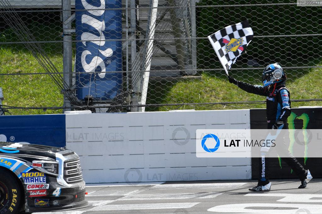NASCAR Camping World Truck Series Overton?s 150 Pocono Raceway, Long Pond, PA USA Saturday 29 July 2017 Christopher Bell, SiriusXM Toyota Tundra, celebrates in after winning. World Copyright: John K Harrelson LAT Images