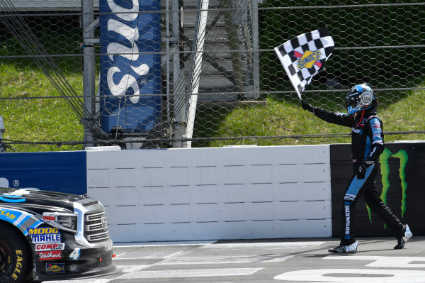 NASCAR Camping World Truck Series Overton?s 150 Pocono Raceway, Long Pond, PA USA Saturday 29 July 2017 Christopher Bell, SiriusXM Toyota Tundra, celebrates in after winning. World Copyright: John K Harrelson LAT Images