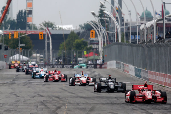 20 July, 2014, Toronto, Ontario, Canada Tony Kanaan leads a pack ©2014, Michael L. Levitt LAT Photo USA