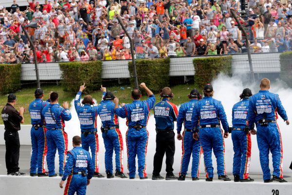 6-8 June, 2014, Long Pond, Pennsylvania USA Dale Earnhardt Jr celebrates with victory with his crew ?2014, Lesley Ann Miller LAT Photo USA