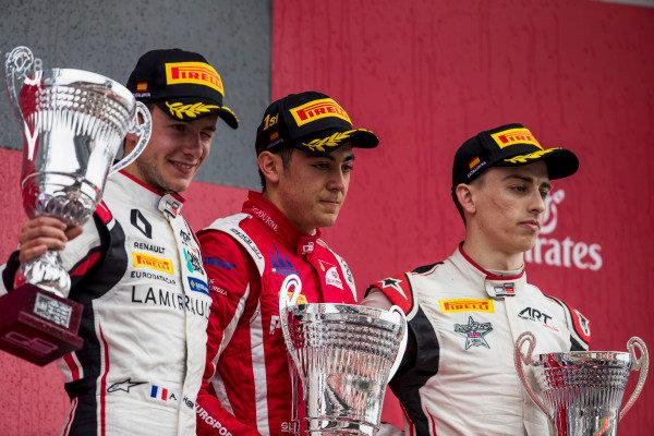 Anthoine Hubert (FRA, ART Grand Prix), Giuliano Alesi (FRA, Trident), Jake Hughes (GBR, ART Grand Prix)
