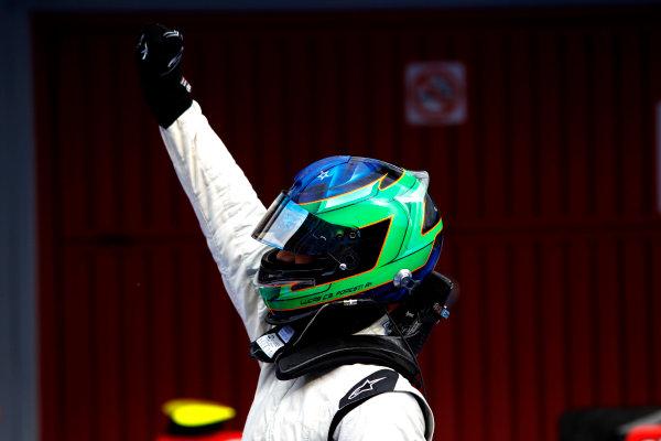 Circuit de Catalunya, Spain. 9th May 2010. Sunday Race. Lucas Foresti, (BRA, Carlin) celebrates in parc ferme.Portrait. Photo: Andrew Ferraro/GP3 Media Service. Digital Image _Q0C2757