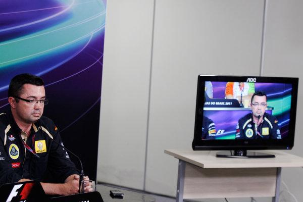 Interlagos, Sao Paulo, Brazil. 25th November 2011. Eric Boullier, Team Principal, Lotus Renault GP. Portrait. Press Conferences.  World Copyright:Charles Coates/LAT Photographic ref: Digital Image _X5J0286